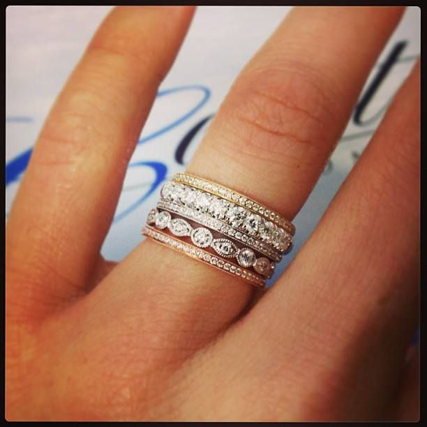 The great thing about wedding bands is the fact that you can stack them, wear them alone, or pair them with your engagement ring - there are so many chic options! When it comes to stacking, don't be afraid to mix metals and styles to create a look that's all your own!