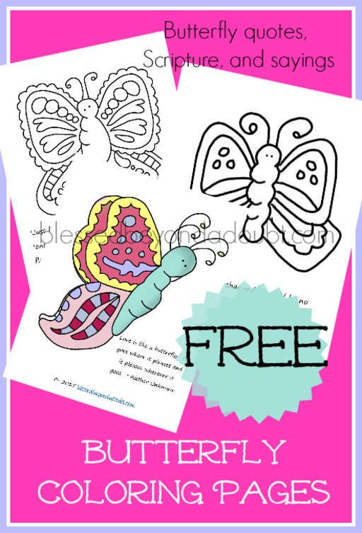 FREE Butterfly Coloring Sheets | Butterfly quotes