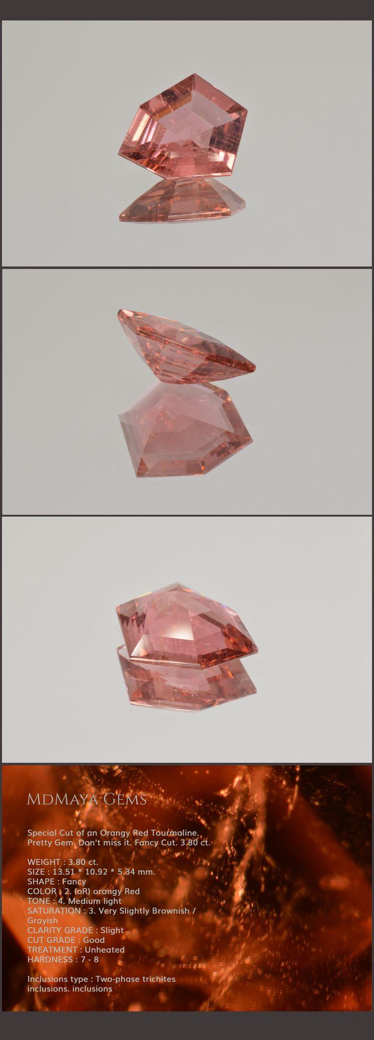Special Cut of an Orangy Red Tourmaline. Pretty Gem. Don't miss it. Fancy Cut. 3.80 ct. Loose Tourmaline Gemstones for sale MdMaya Gems
