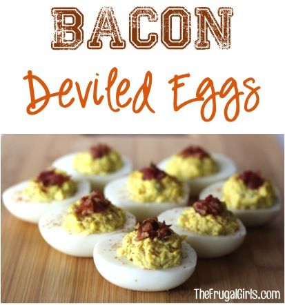 Easy Bacon Deviled Eggs Recipe!  Give your classic egg a makeover with this simple recipe.  Bacon makes everything better!!   TheFrugalGirls.com