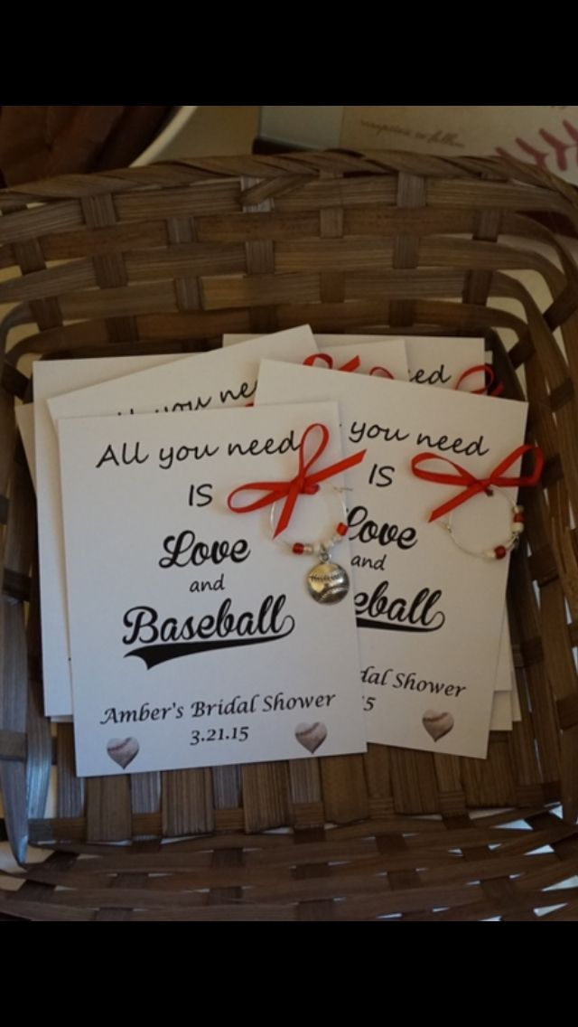 Baseball themed wedding and wine themed bridal shower. Handmade baseball Wine charms as the favor.