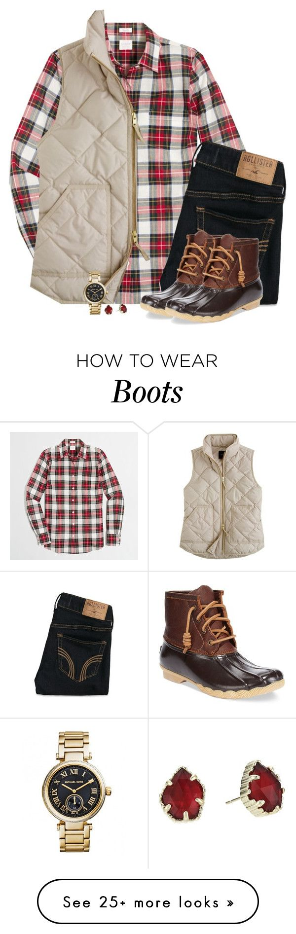 """J.Crew holiday plaid with vest & duck boots"" by steffiestaffie on Polyvore featuring J.Crew, Hollister Co., Sperry, Kendra Scott and Michael Kors"