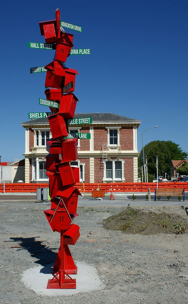 Letterbox sculpture at the intersection of Charles and Williams Sts., Kaiapoi.