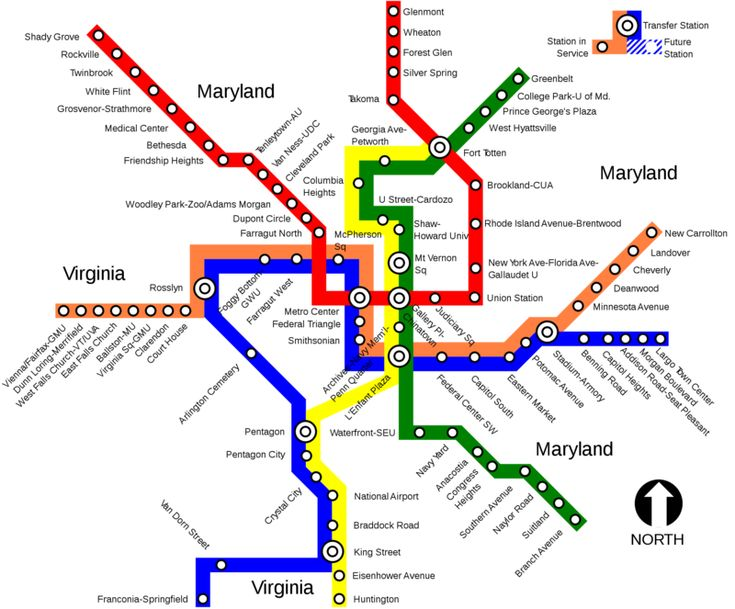 Das Washington Metro, als Metrorail bekannt, ist das zweite Passagierreichste Metro-System in den USA, nur hinter dem New York Metro. Von der Washington Metropolitan Area Transit Authority betrieben, funktioniert diese U-Bahn in Washington DC und den Nachbargemeinden Maryland und Virginia. Es wurde in 1976 eröffnet, mit der roten Linie und es gibt momentan fünf Linien, mit 171 kms Spuren und 86 Stationen.  #washington #metrorail #karte