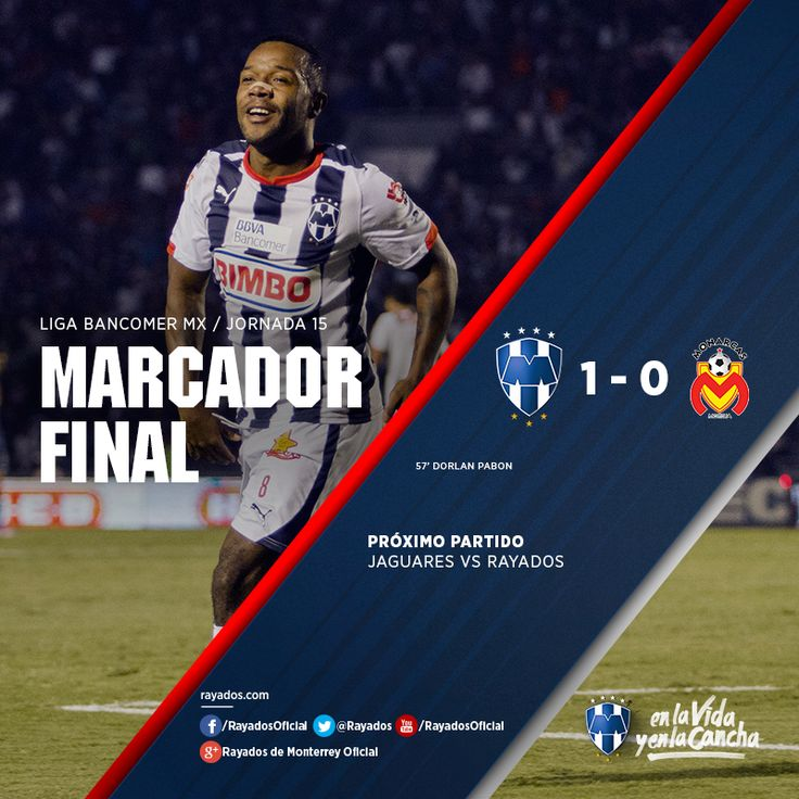 ¡Termina el encuentro de la Jornada 15! Marcador: Club de Futbol Monterrey 1-0 Monarcas Morelia  La asistencia de hoy en el Estadio Tecnológico fue de 32, 757 personas. El próximo partido es vs. Jaguares el 2 de mayo a las 21:00hrs.  ¡Gracias por su apoyo incondicional #FamiliaRayada!