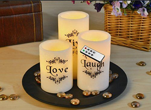 EGI - Set of 3 Flickering Flameless Candles With Remote Control and Timer - Romantic Led Candles - With Live, Love, Laugh Decal - Made With Real Wax ** Details can be found by clicking on the image.