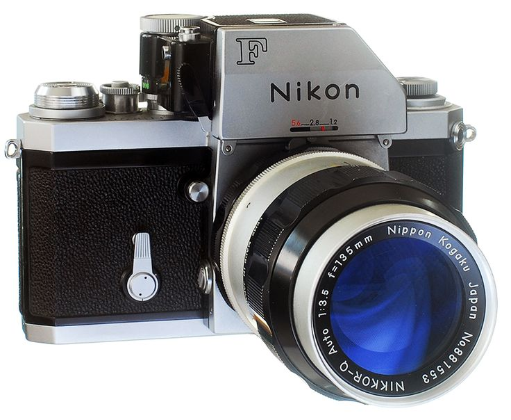 """Nikon F (FTN Finder)  Circa 1968. with the  third iteration of the """"photomic"""" finder/prism, which had become the professional-level standard.   The final metering prism for the Nikon F, the Photomic FTn, introduced in 1968, provided 60% center-weighted TTL which became the standard metering pattern for Nikon cameras.  More Nikons at: www.web4homes.com/cameras"""