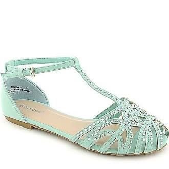 Bamboo Womens Lynna-01 Green Jeweled Sandals
