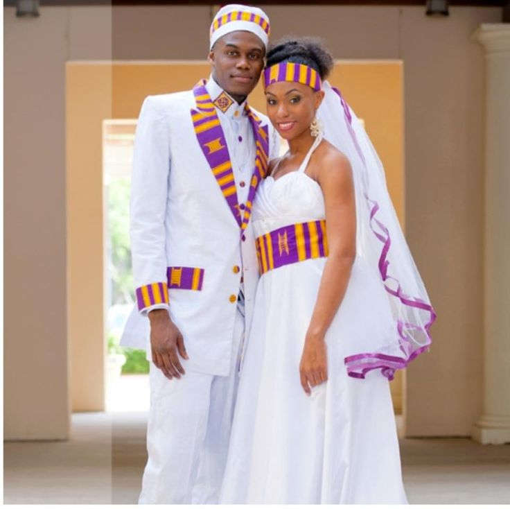 Kente wedding in purple and gold african wardrobe for African dress styles for weddings