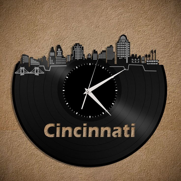 Cincinnati Skyline - Ohio State Clock, Wall Clock, Cityscape Clock, Vinyl Record Clock,  Unique Wall Clock,  Large Wall Clock, Gift Idea by VinylShopUS on Etsy