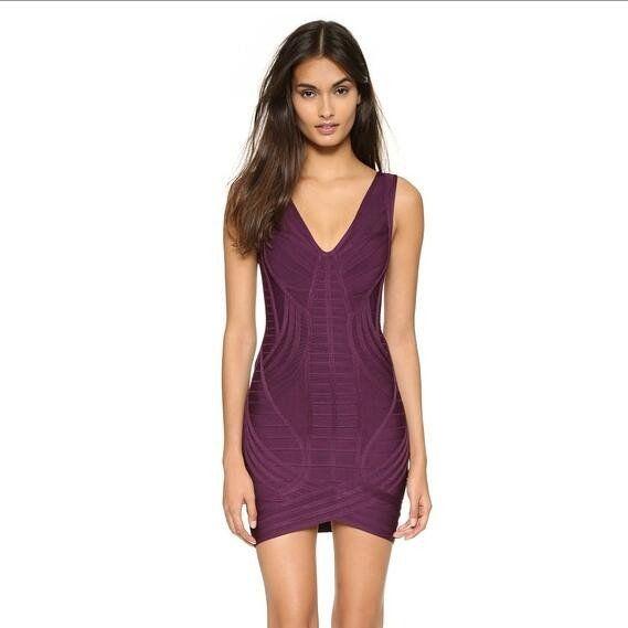 Deep Plunge V-neck Grape Purple Bandage Dresses