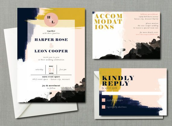 Modern Abstract Watercolor Wedding Suite // DIY PRINTABLE Invite + RSVP // Modern Wedding, Whimsical Wedding, Artsy Wedding