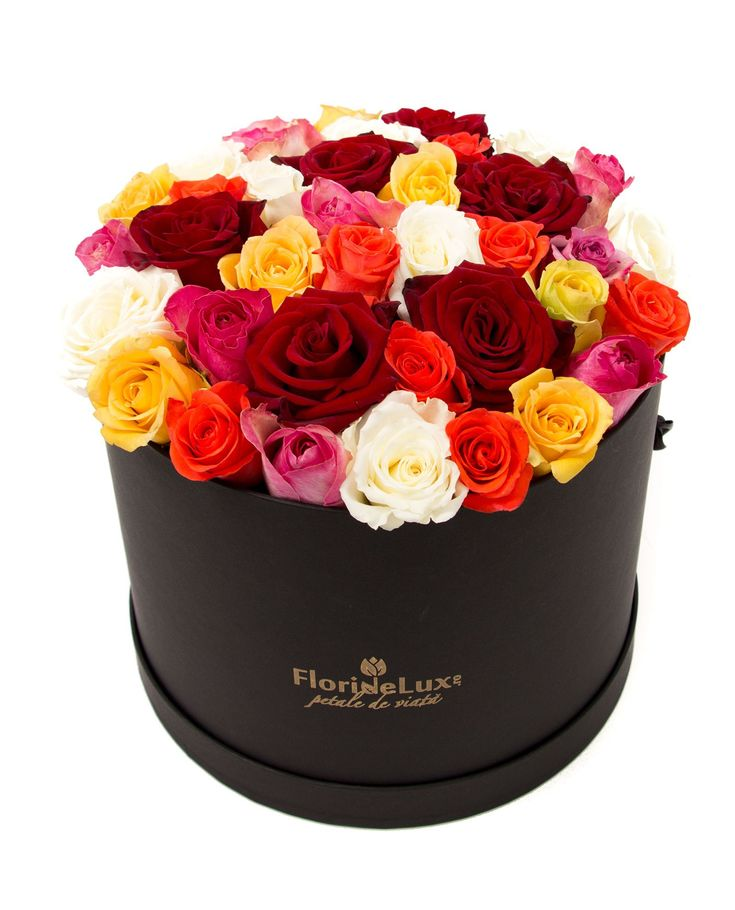 Box with multicolor roses, special gift, order now flowers to Romania, box with fresh roses!