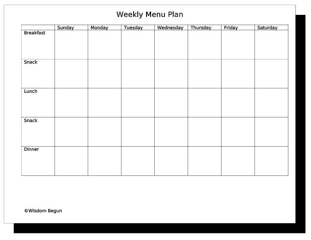 Weekly Menu Template  BesikEightyCo