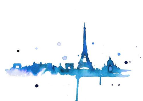 aquarelle, watercolor Paris Eiffel Tower and other monuments  - for more inspiration visit http://pinterest.com/franpestel/boards/