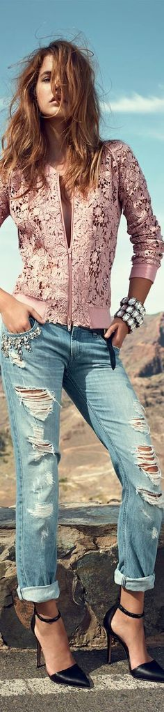 Pink Lace Jacket and Ripped Denim