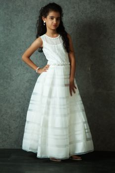 Net gown embellished with resham and bead work from  #Benzer #Benzerworld #kidswear #gowns