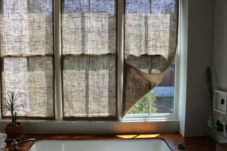 The shingled house diy easy burlap shades for less than for Window treatments for less