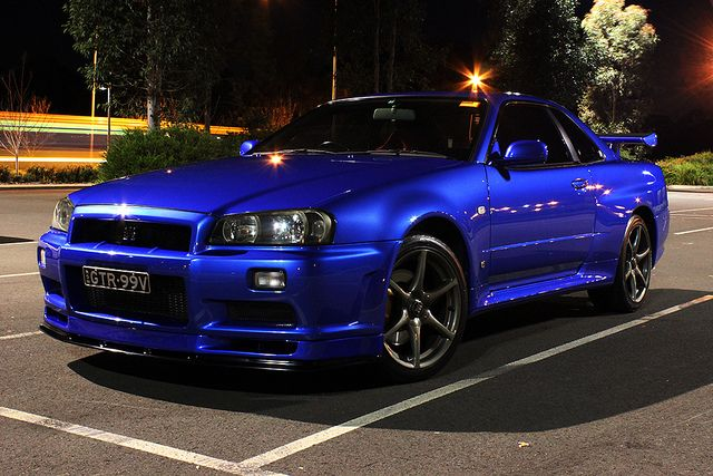 nissan skyline r34 gtr vspec bayside blue night photo. Black Bedroom Furniture Sets. Home Design Ideas