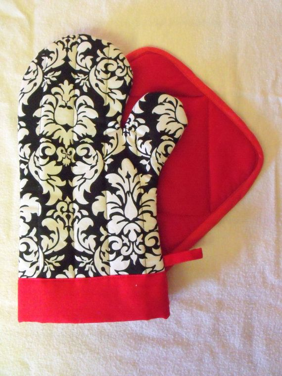 Damask and Red Oven Mitt Pot Holder Set by SEAMSTOSEWMARSHA, $28.00