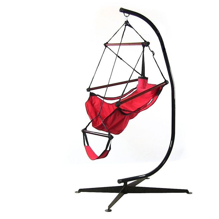 Sunnydaze Hanging Hammock Chair & Hammock Stand Combo W/ Pillow & Drink Holder (Red), Patio Furniture (Polyester)