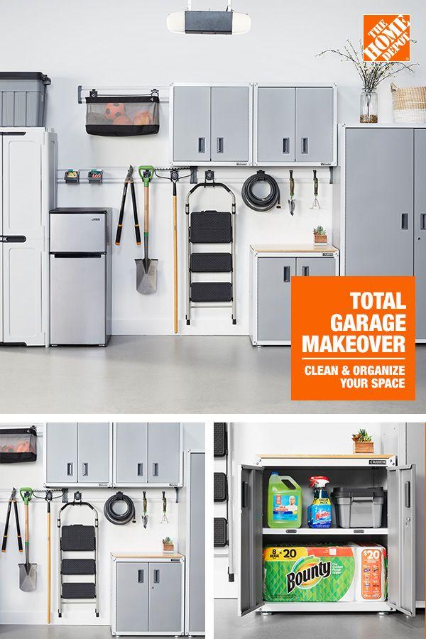 Total Garage Makeover, Garage Storage Wall Cabinets Home Depot