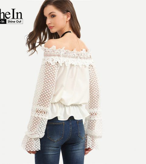 SheIn Womens New Summer Style Tops and Blouses Ladies Plain White Off The Shoulder Crochet Long Sleeve Cute Blouse