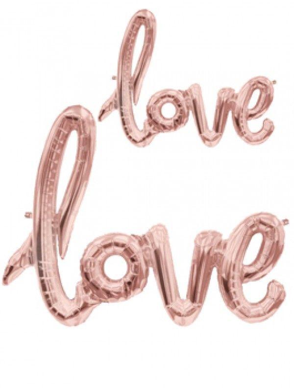 Decoración para fiestas infantiles, bodas y eventos Globo Love rosa dorado