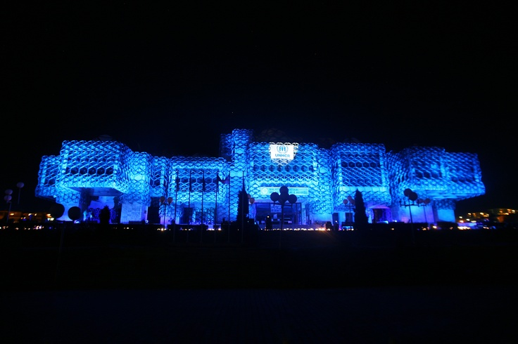 In #Kossovo, the National library was illuminated in blue./ UNHCR/ B. Berisha/ June 2012