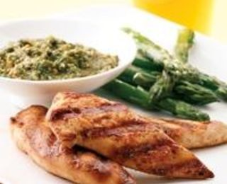 Grilled Chicken Tenders with Cilantro Pesto. Not sure about the pesto but will try the marinade.