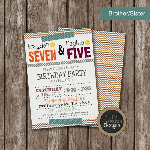 Joint Sibling Birthday Party Invitations  by DigitalStudioDesigns