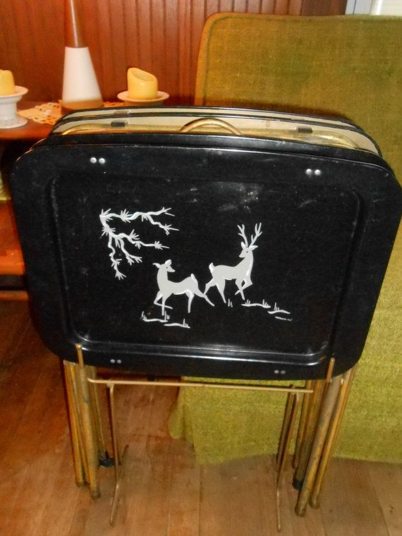Mid Century Modern TV Tray Tables Set 4 Folding Metal Tv Tables Black Gold  Atomic Deer