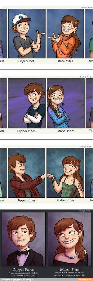 Dipper y Mabel atraves del tiempo en sus vidas