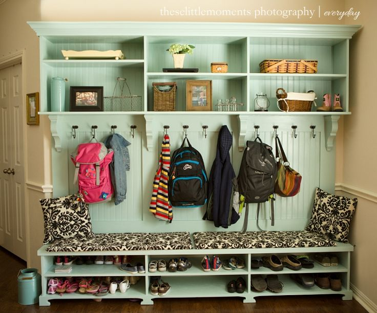 perfect mudroom shelving, love the color also