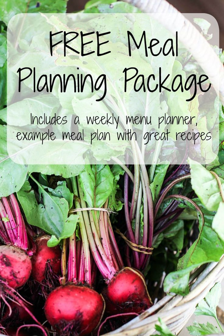 FREE Meal Planning Package, includes a weekly planner, example menu with great recipes