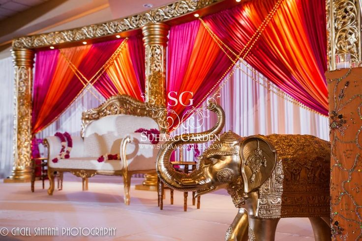 Suhaag Garden Indian Wedding, California Indian Wedding, Stage Furniture