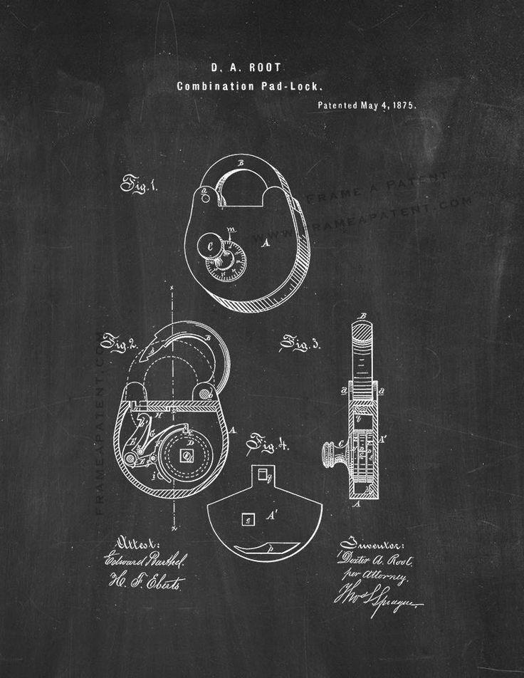 "Combination Padlock Patent Print - Chalkboard 5"" x 7"" for $7.95"