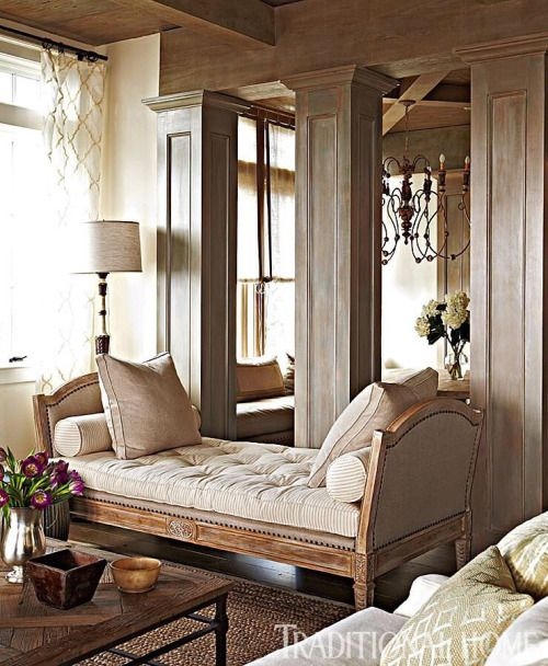 """Books and Nooks"" Love this chaise/bench - looks vintage, traditional but clean lines, lovely sheer curtains on window, columns (would look great with bookshelves between them), wood stains"