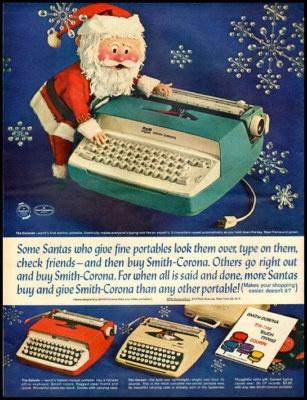 Vintage Christmas Ad ~ Santa & Smith-Corona Typewriters *Circa, 1960's