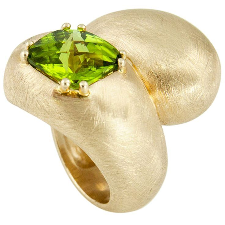 Peridot Yin Yang Gold Ring | From a unique collection of vintage more rings at http://www.1stdibs.com/jewelry/rings/more-rings/