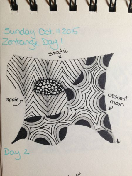 One Zentangle-A-Day, day 1 (static, tipple, crescent moon)