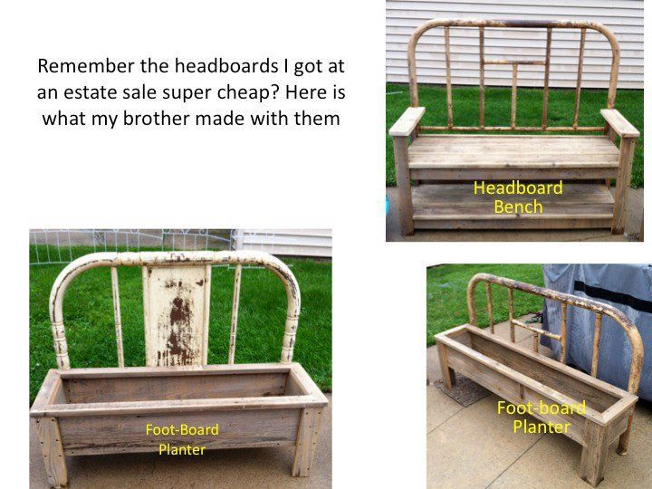 Ann Elias's headboard bench Ann Elias recently visited an estate sale, one of the favorite pastimes for a Flea Market gardener!  Our secret is  that you get the biggest bargains at estate and…
