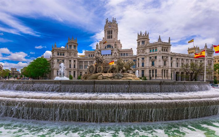Download wallpapers Plaza de la Cibeles, Madrid, Spain, fountain, Spanish flag, square, Madrid landmarks