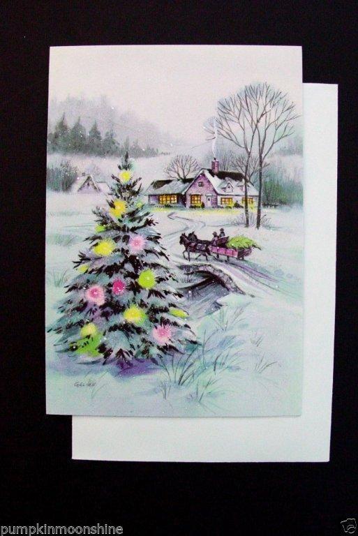 H834 Vintage Unused Glitter Xmas Greeting Card Colorful Tree Sleigh | eBay