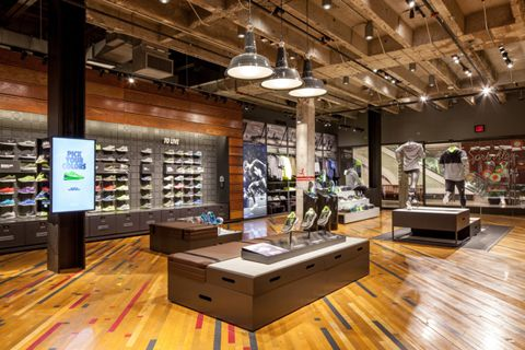 nike retail design - modular tables and benches.... bench of cubes that can be pulled apart or assembled for flexible work areas?