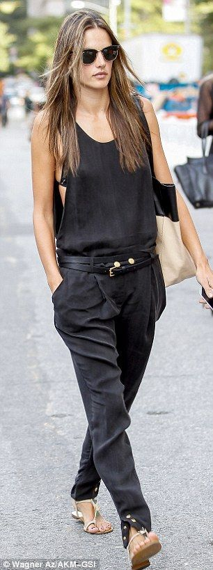 Basic in black: Later in the day, Alessandra donned a silky billowy jumpsui