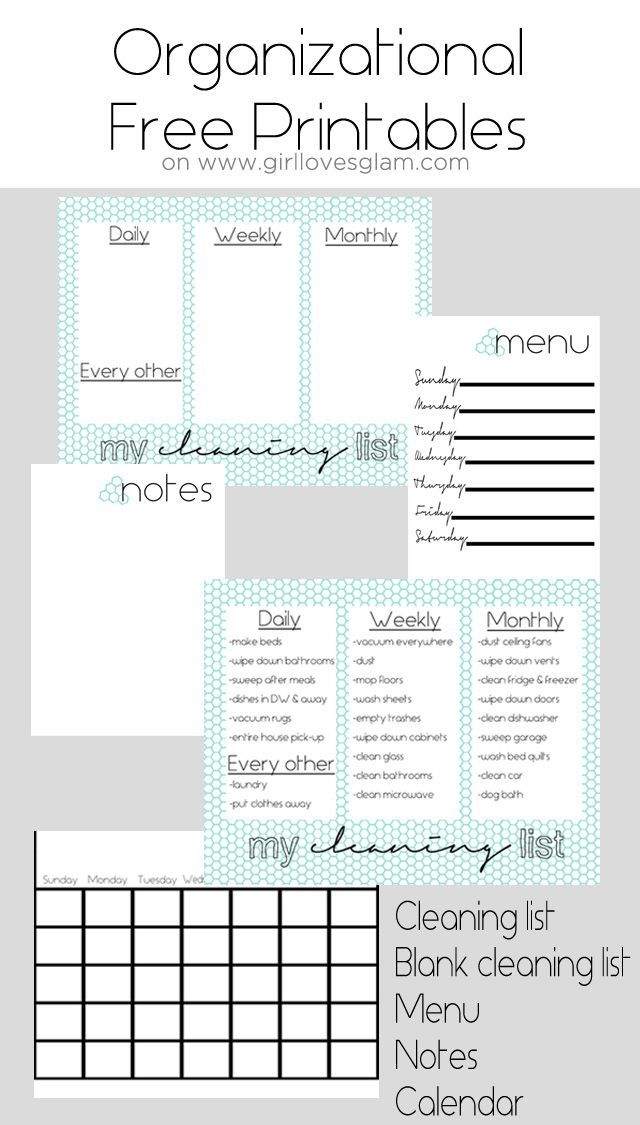 Organizational Free Printables including cleaning list, blank cleaning list…