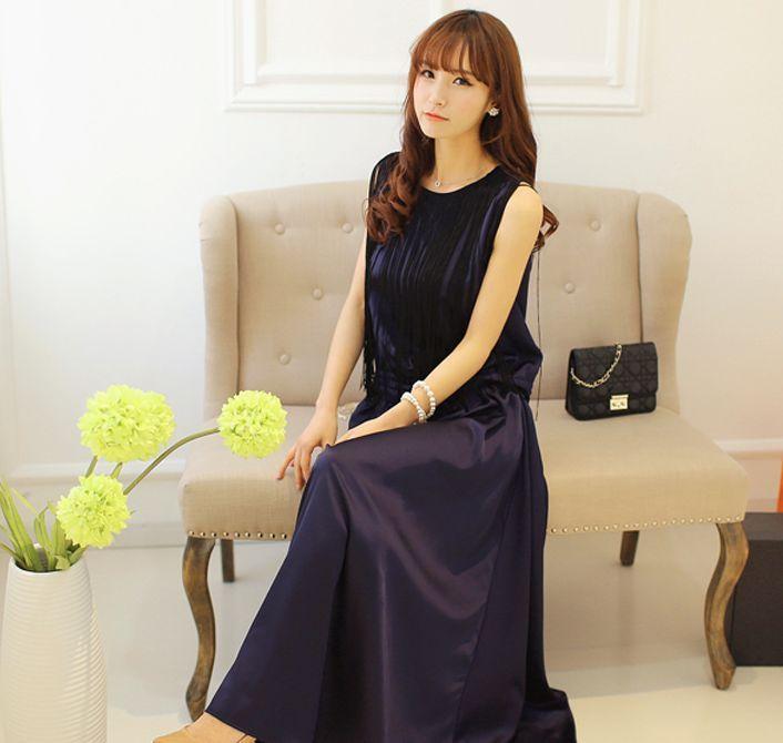 European New Brand Sleeveless O Neck Elegant And Sexy Tassel Decorated Womens Dress