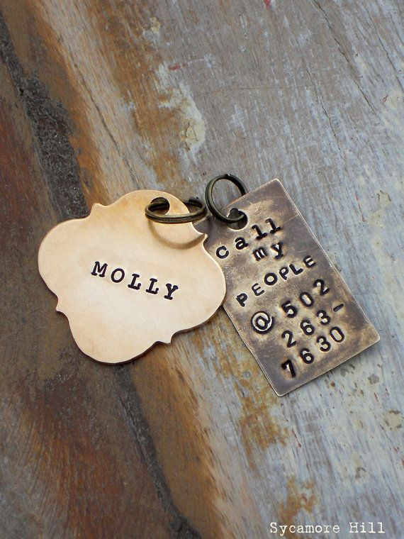CALL MY PEOPLE Pet Tag   Vintage Inspired Pet Tags by Sycamore Hill, $16.00    DOG COLLAR TAG HORSE HALTER TAG HANDMADE HANDSTAMPED. You choose FONT, metal and shape.  custom i.d. tags. personalized identification tag