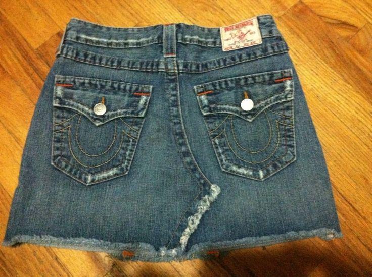 True Religion mini skirt LoLa sz 27 Blue 100% cotton #TrueReligion #Mini